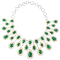 White Gold Zambian Emerald Set