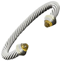 David Yurman Sterling Silver and Gold Citrine Cable Cuff Bracelet