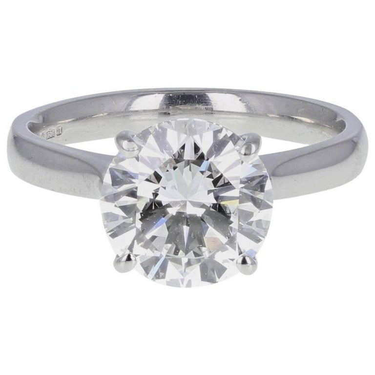 Certificated 3.33 Carat Brilliant Cut Diamond Platinum Solitaire Engagement Ring