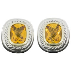 David Yurman Albion Citrine 14 Karat Gold and Silver Earrings