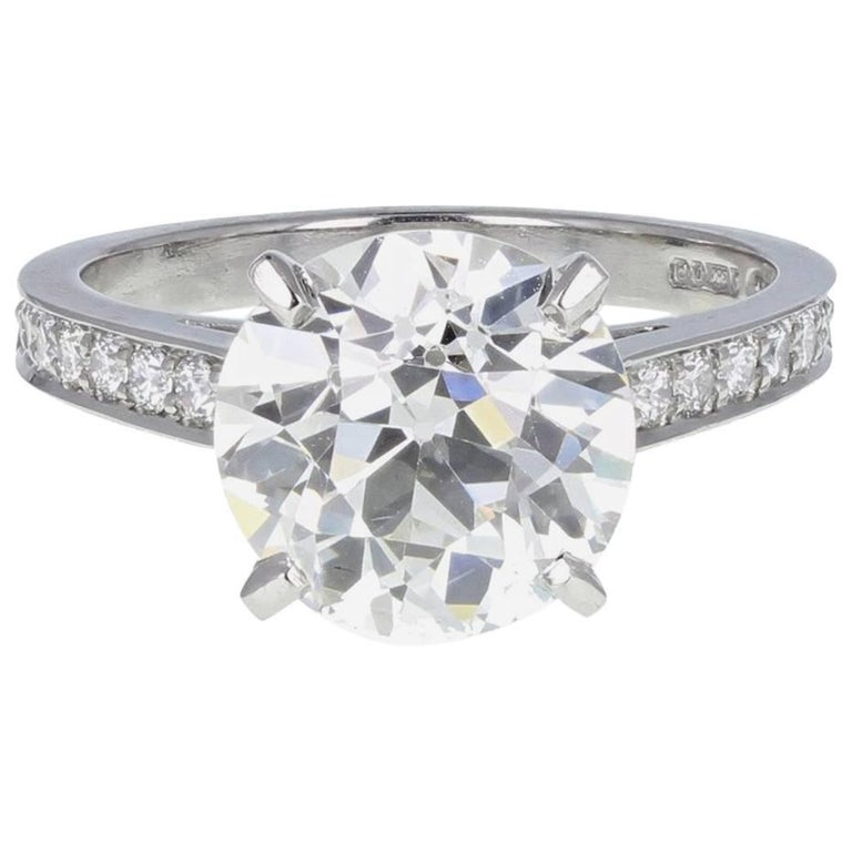 Old European Cut 3.53 Carat Diamond Solitaire Platinum Engagement Ring