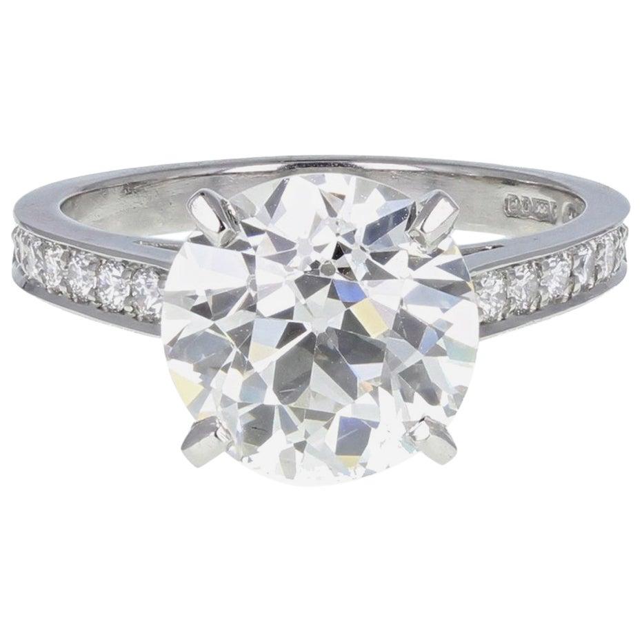 Old European Cut 3.53 Carat Diamond Solitaire Platinum Engagement Ring