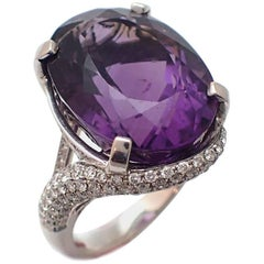 18.13 Carat Oval Amethyst and Diamond Ring in 18 Karat White Gold