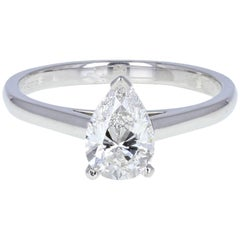 1.01 Carat Pear Cut VVS1 Diamond Solitaire Engagement Ring by DeBeers