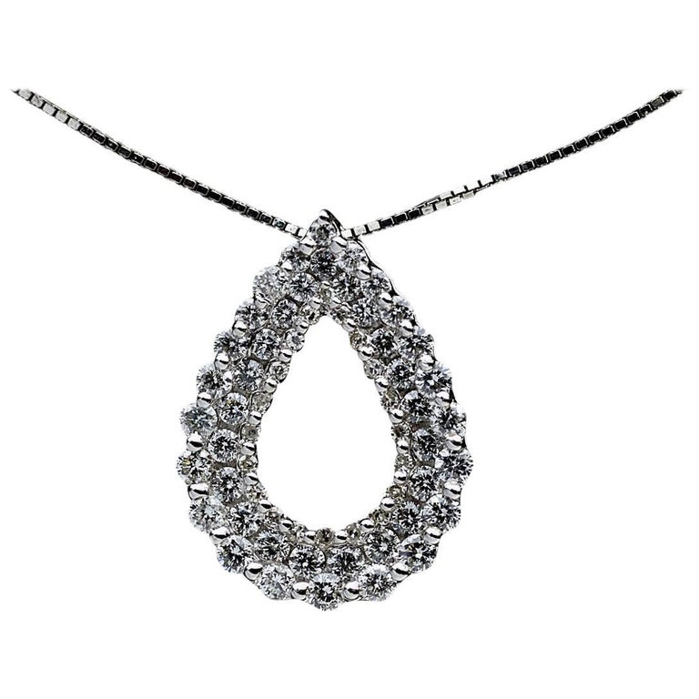 14 Karat White Gold Open Water Drop Diamond Pendant Necklace