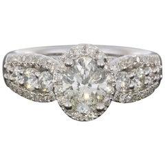 18 Karat White Gold Oval Halo Three-Row Diamond Engagement Ring