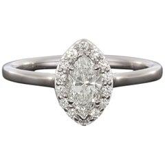 Marquise Brilliant Diamond Halo White Gold Engagement Ring