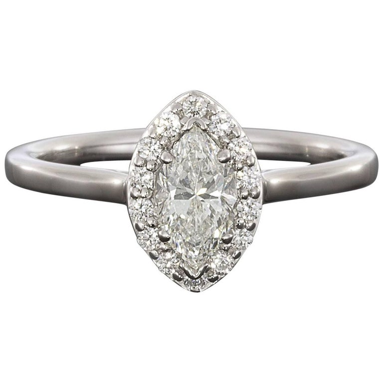 Marquise Brilliant Diamond Halo White Gold Engagement Ring