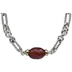 David Yurman Carnelian Figaro Bijoux Silver and Gold Necklace