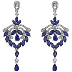 Emilio Jewelry Fancy Shaped Sapphire Diamond Earrings