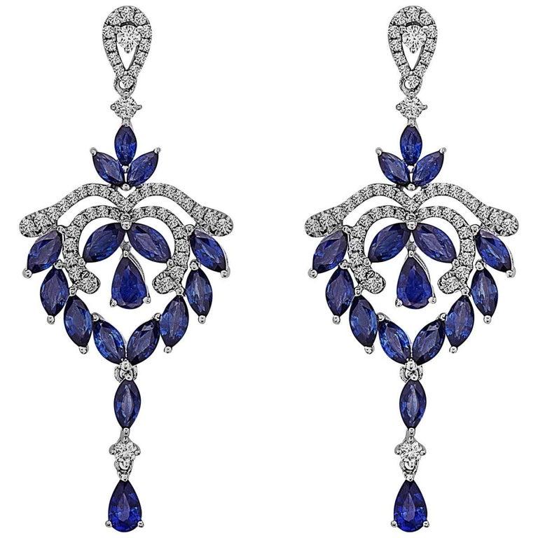 Emilio Jewelry Fancy Shaped Sapphire Diamond Earrings
