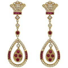 18 Karat Yellow Gold Ruby Diamond Earrings