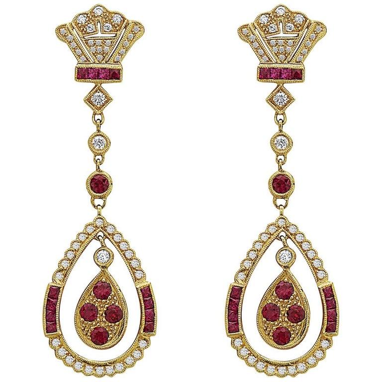 Emilio Jewelry 18 Karat Yellow Gold Ruby Diamond Earrings