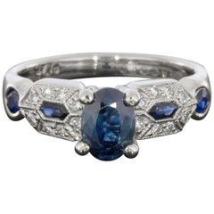 Tacori Oval Sapphire and Diamond Art Deco Platinum Ring