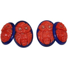 Double Owl Cufflinks in Mediterranean Coral Lapis Lazuli and Diamonds