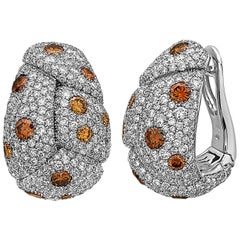 Emilio Jewelry 12.00 Carat Pave Diamond Huggies Earrings