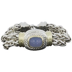 David Yurman Albion Wheat Bracelet Blue Chalcedony Silver and 14 Karat Gold