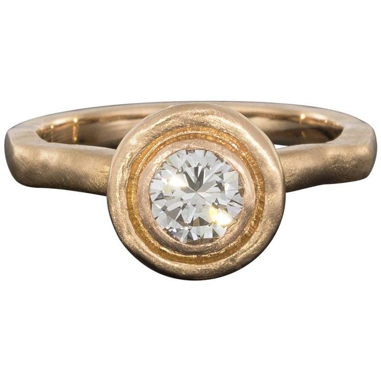 Custom Boheme 18 Karat Rose Gold 0.58 Carat Round Diamond Solitaire Ring