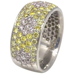 Natural Pink and Yellow Diamond Pave Band Ring in 18 Karat White Gold