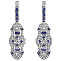 French Cut Sapphire Diamond Earrings