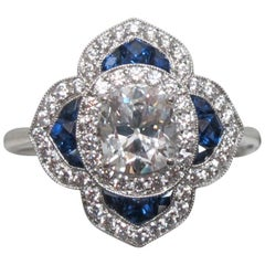 EGL Certified Cushion Cut Diamond and Sapphire Ring