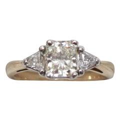 18 Karat Yellow Gold and Platinum Fancy Light Yellow Diamond Engagement Ring