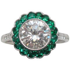2 Carat Round Brilliant Diamond with Emerald Halo Platinum Engagement Ring