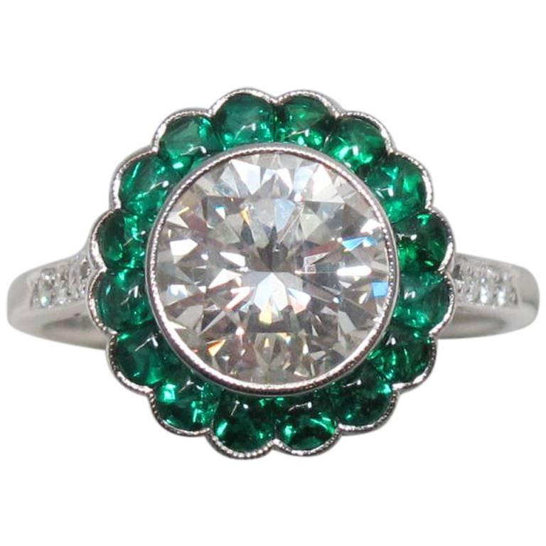 2 Carat Round Brilliant Diamond with Emerald Halo Platinum Engagement Ring