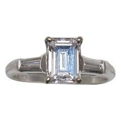 Emerald Cut 1.25 Carat Diamond and Platinum Engagement Ring