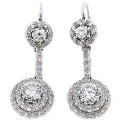 Halo Dangle Drop Diamond Earrings with Large Diamonds TW 3.30 Platinum