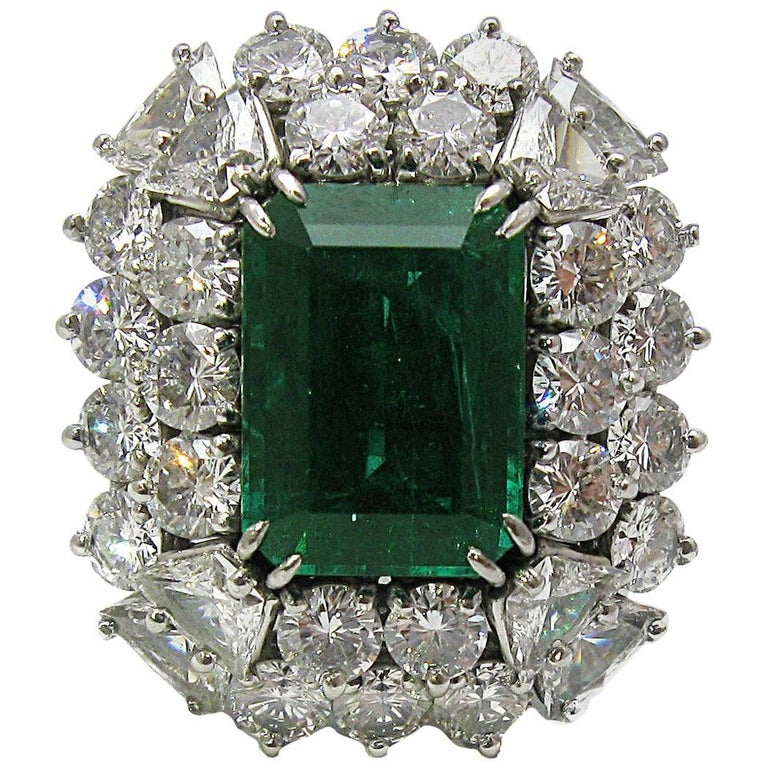 4.68 Carat Zambian Emerald Cut Emerald and Diamond Ring in Platinum