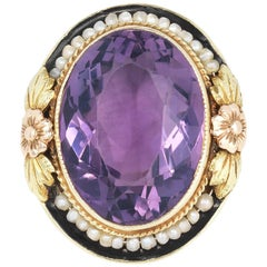 Vintage Yellow Gold Amethyst and Seed Pearl Ring