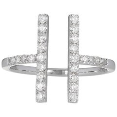White Diamond and Gold Two-Bar Ring