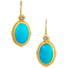 Granulated Yellow Gold, Turquoise and Brown Diamond Drop Earrings