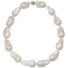 Baroque Pearl Necklace with Diamond and Gold Clasp