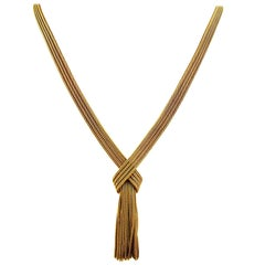Grosse Yellow Gold Retro Tassel Necklace, 1960s