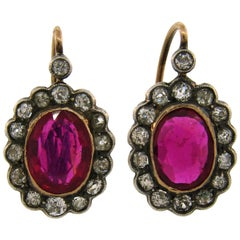 Antique Ruby Diamond Silver Gold Cluster Drop Stud Earrings