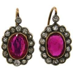 Antique Ruby Diamond Silver Gold Cluster Drop Stud Earrings