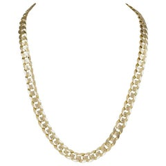 Distinctive Beveled Link Gold Necklace