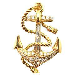 Oscar Heyman Diamond Gold Anchor Motif Pin