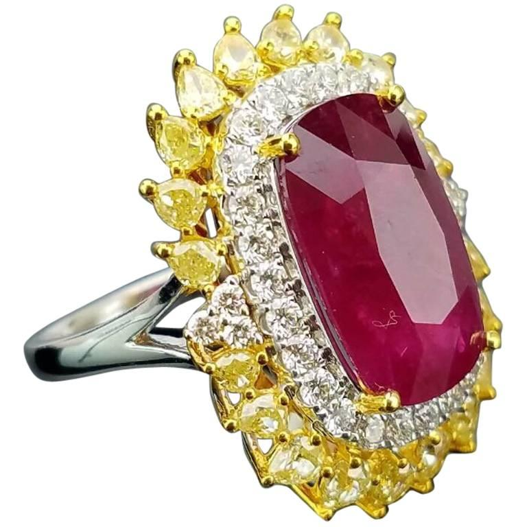 GRS Certified 16.80 Carat Ruby and Diamond Cocktail Ring