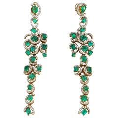 Statement Colombian Emerald and Diamond Dangling Earrings