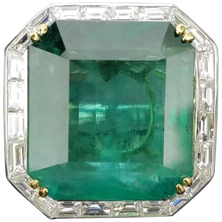 Certified 24.66 Carat Emerald and Diamond Cocktail Ring