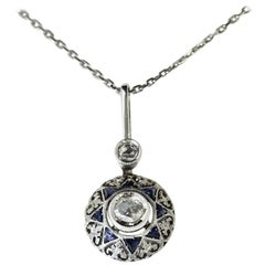 Antique Art Deco 18k White Gold Diamond and Sapphire Filigree Pendant Necklace