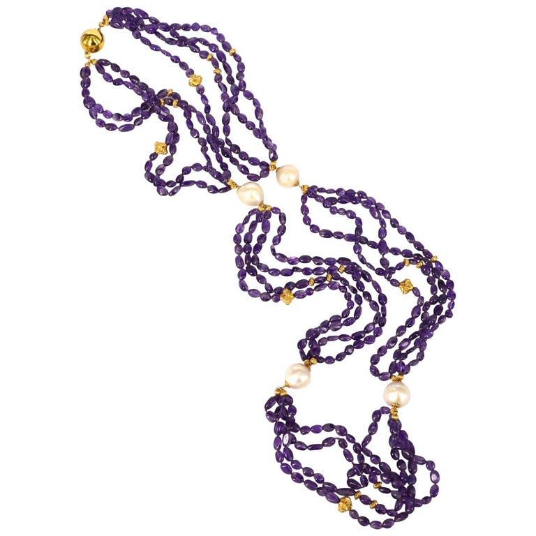 Decadent Jewels Amethyst Fresh Water Pearl Gold Necklace For Sale