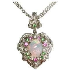 Matsuzaki PT900 K18WG Opal Pink Sapphire Green Garnet Diamond Pendant Necklace