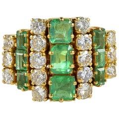 Art Deco 3.32 Carat Colombian Emerald 1.42 Carat Diamond Ring