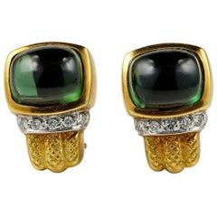12.80 Carat Green Tourmaline Diamond Vintage Earrings