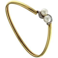Contrast Bracelet with Pearls in 18 Karat Gold