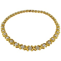 18 Karat Gold Degradè Necklace in Two Colors and White Diamonds